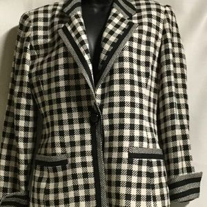 Vintage CHRISTIAN DIOR houndstooth silk suit wow